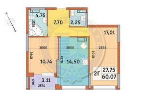 ЖК Урлівський-1: планування 2-кімнатної квартири 60.07 м²
