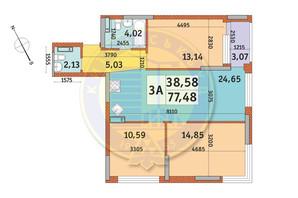 ЖК Урлівський-1: планування 3-кімнатної квартири 77.48 м²