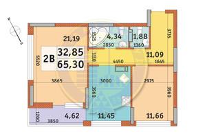 ЖК Урлівський-1: планування 2-кімнатної квартири 65.3 м²