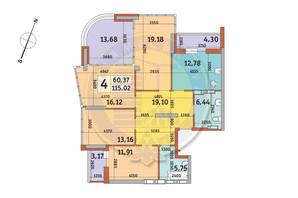 ЖК Урлівський-2: планування 4-кімнатної квартири 115.02 м²