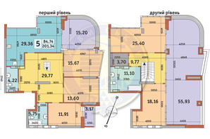 ЖК Урлівський-2: планування 5-кімнатної квартири 201.34 м²