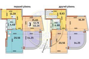 ЖК Урлівський-2: планування 3-кімнатної квартири 113.26 м²