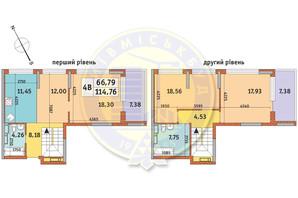 ЖК Урловский-1: планировка 4-комнатной квартиры 114.76 м²