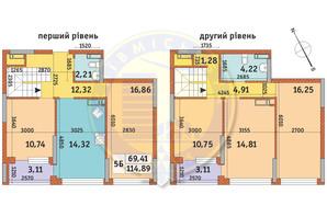 ЖК Урловский-1: планировка 5-комнатной квартиры 114.89 м²