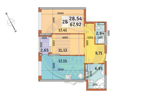 ЖК Урловский-1: планировка 2-комнатной квартиры 67.92 м²