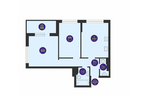 ЖК Урловский-1: планировка 2-комнатной квартиры 66.29 м²