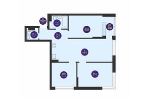 ЖК Урловский-1: планировка 3-комнатной квартиры 77.48 м²