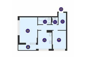 ЖК Урловский-1: планировка 2-комнатной квартиры 65.3 м²