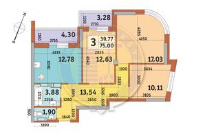 ЖК Урловский-2: планировка 3-комнатной квартиры 75 м²