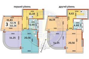 ЖК Урловский-2: планировка 3-комнатной квартиры 113.26 м²