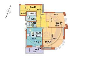 ЖК Урловский-2: планировка 2-комнатной квартиры 62.21 м²