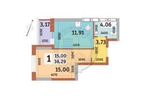 ЖК Урловский-2: планировка 1-комнатной квартиры 36.29 м²