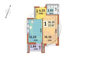 ЖК Урловский-2: планировка 1-комнатной квартиры 37.97 м²