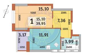 ЖК Урловский-2: планировка 1-комнатной квартиры 39.95 м²