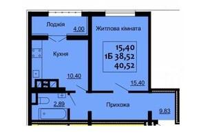 ЖК Варшавский: планировка 1-комнатной квартиры 40.52 м²
