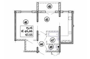ЖК Варшавський: планування 1-кімнатної квартири 47.55 м²