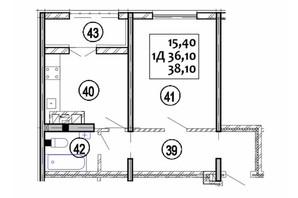 ЖК Варшавський: планування 1-кімнатної квартири 38.1 м²