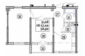ЖК Варшавский: планировка 2-комнатной квартиры 58.9 м²