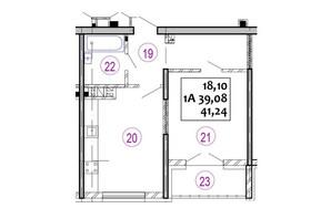 ЖК Варшавський: планування 1-кімнатної квартири 41.24 м²
