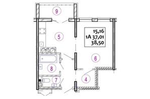 ЖК Варшавський: планування 1-кімнатної квартири 38.5 м²