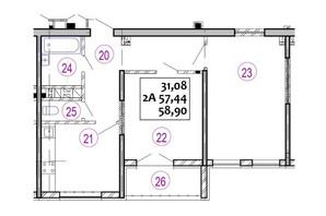 ЖК Варшавський: планування 2-кімнатної квартири 58.9 м²
