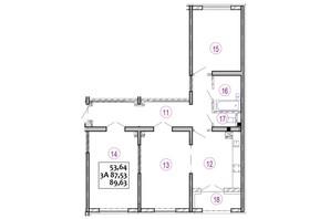 ЖК Варшавский: планировка 3-комнатной квартиры 89.83 м²