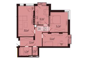 ЖК Варшавский: планировка 3-комнатной квартиры 75.5 м²