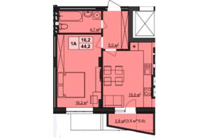 ЖК Варшавский: планировка 1-комнатной квартиры 44 м²