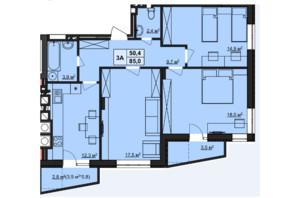 ЖК Варшавский: планировка 3-комнатной квартиры 85 м²