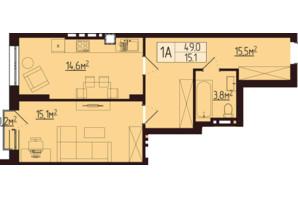 ЖК Варшавський: планування 1-кімнатної квартири 49 м²