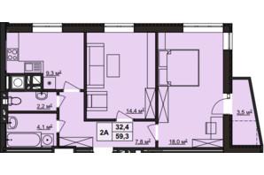 ЖК Варшавский: планировка 2-комнатной квартиры 59 м²