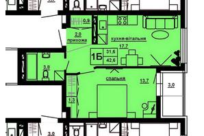 ЖК Варшавський мікрорайон: планування 1-кімнатної квартири 42.8 м²