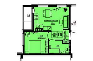 ЖК Варшавський мікрорайон: планування 1-кімнатної квартири 44.3 м²