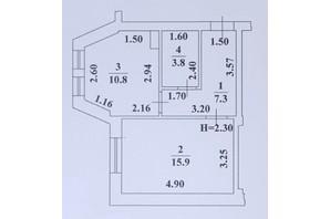 ЖК Ваш Дім на Вузівському: планування 1-кімнатної квартири 37.8 м²