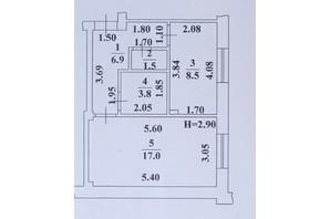 ЖК Ваш Дім на Вузівському: планування 1-кімнатної квартири 37.7 м²