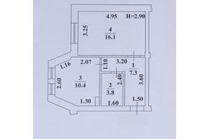 ЖК Ваш Дім на Вузівському: планування 1-кімнатної квартири 37.6 м²