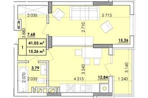 ЖК Венский Квартал: планировка 1-комнатной квартиры 41.03 м²