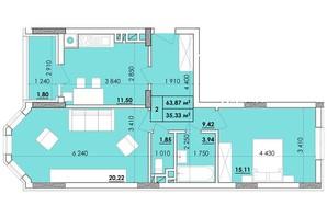 ЖК Венский Квартал: планировка 2-комнатной квартиры 63.87 м²