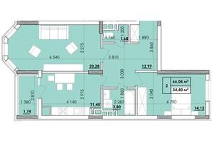 ЖК Венский Квартал: планировка 2-комнатной квартиры 66.74 м²