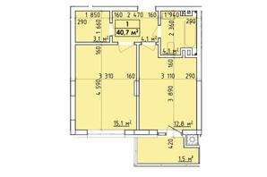 ЖК Венский Квартал: планировка 1-комнатной квартиры 40.7 м²