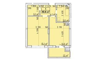 ЖК Венский Квартал: планировка 1-комнатной квартиры 40.8 м²