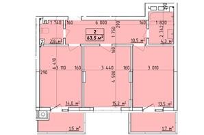 ЖК Венский Квартал: планировка 2-комнатной квартиры 63.5 м²