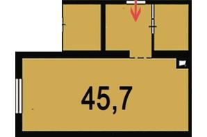 ЖК Венский дом: планировка 1-комнатной квартиры 45.7 м²