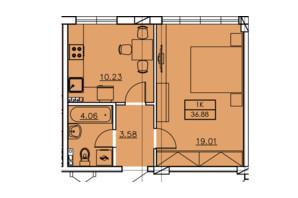ЖК Ventum: планування 1-кімнатної квартири 36.88 м²