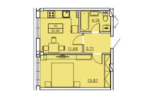 ЖК Ventum: планування 1-кімнатної квартири 35.4 м²