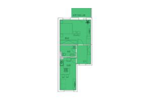 ЖК Ventum: планування 1-кімнатної квартири 47.55 м²