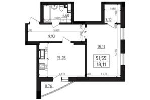 ЖК Вернісаж: планування 1-кімнатної квартири 51.55 м²