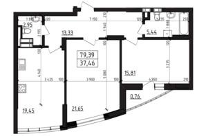 ЖК Вернисаж: планировка 2-комнатной квартиры 79.39 м²