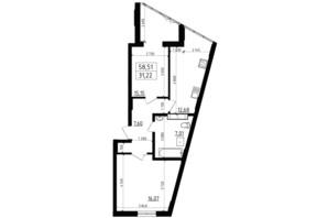 ЖК Вернисаж: планировка 2-комнатной квартиры 58.51 м²