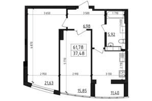 ЖК Вернисаж: планировка 2-комнатной квартиры 61.78 м²